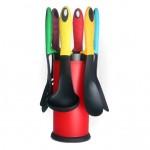 Royalty Line Εργαλεία Κουζίνας & Βάση 7τμχ Κόκκινο RL-NU6STK-RED