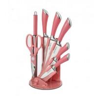 Σετ Μαχαίρια και Εργαλεία Κουζίνας 7 τμχ & Βάση Ροζ Royalty Line RL-KSS903-C-PNK