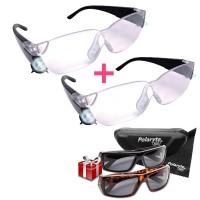 Mag Vision Γυαλιά με Μεγεθυντικούς Φακούς και φωτισμό LED 1 + 1 και Δώρο 2 Ζευγάρια ηλίου με πολωτικούς φακούς Polaryte HD