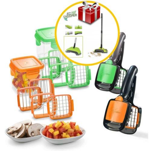 Nicer Dicer Quick Πολυκόφτης Χειρός για Φρούτα και Λαχανικά 5 σε 1 με Δώρο Χειροκίνητη σκούπα 3 σε 1 ECO Sweeper