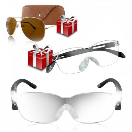 Zoom Vision+ Γυαλιά Οράσεως με Μεγεθυντικούς φακούς και Φωτάκια LED με Δώρο Γυαλιά Οράσεως και Γυαλιά Ηλίου