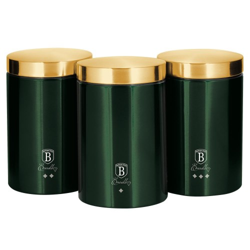 Berlinger Haus Σετ Δοχεία Αποθήκευσης Τροφίμων από Ανοξείδωτο Ατσάλι 3 τμχ Emerald Collection BH-6272
