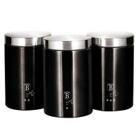 Berlinger Haus Σετ Δοχεία Αποθήκευσης Τροφίμων από Ανοξείδωτο Ατσάλι 3 τμχ Black Silver Collection BH-6296