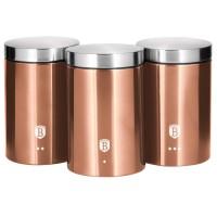 Berlinger Haus Σετ Δοχεία Ζάχαρης-Καφέ από Ανοξείδωτο Ατσάλι 3 τμχ Rose Gold Edition BH-1605