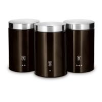 Berlinger Haus Σετ Δοχεία Ζάχαρης-Καφέ από Ανοξείδωτο Ατσάλι 3 τμχ Shiny Black Edition BH-6828