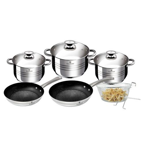 Blaumann Σετ Μαγειρικά Σκεύη 10τμχ Ανοξείδωτο Ατσάλι Gourmet Line -  BL-3243