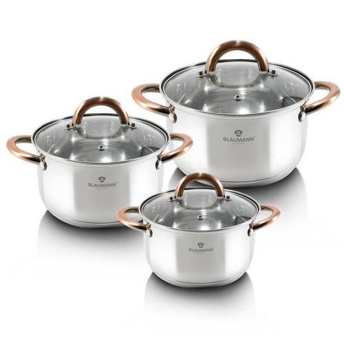 Blaumann Σετ 3 κατσαρόλες με γυάλινα καπάκια Gourmet Line BL-3247