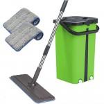 Cenocco Σύστημα Καθαρισμού – Σετ Επίπεδη Αυτοκαθαριζόμενη Σφουγγαρίστρα με Κουβά Πράσινη CC-9077-GRN