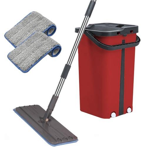 Cenocco Σύστημα Καθαρισμού – Σετ Επίπεδη Αυτοκαθαριζόμενη Σφουγγαρίστρα με Κουβά Κόκκινη CC-9077-RED