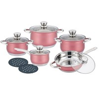 Herenthal Σετ μαγειρικά σκεύη από ανοξείδωτο ατσάλι σε ροζ χρώμα 12τμχ. HT-1232BR