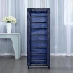 Herzberg Υφασμάτινη παπουτσοθήκη 9 ραφιών για αποθήκευση έως και 27 ζευγαριών μπλε 51 x 16 x 139 cm HG-8076BLU