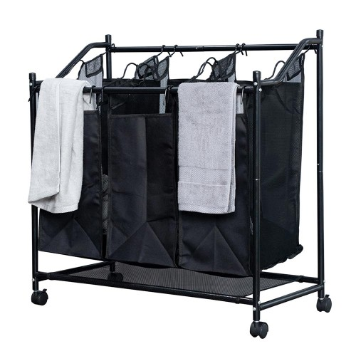 Herzberg Καλάθι οργάνωσης άπλυτων ρούχων με 3 ανεξάρτητα διαμερίσματα HG-8078
