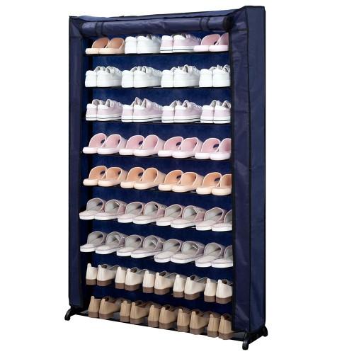 Herzberg Υφασμάτινη παπουτσοθήκη 9 ραφιών για αποθήκευση έως και 50 ζευγαριών μπλε 91 x 16 x 139 cm HG-8077BLU