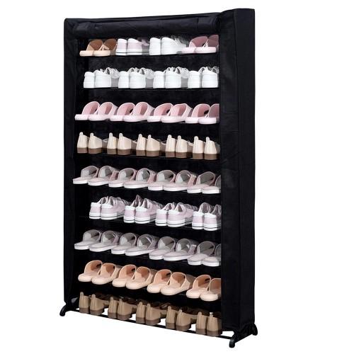 Herzberg Υφασμάτινη παπουτσοθήκη 9 ραφιών για αποθήκευση έως και 50 ζευγαριών μαύρη 91 x 16 x 139 cm HG-8077BLK