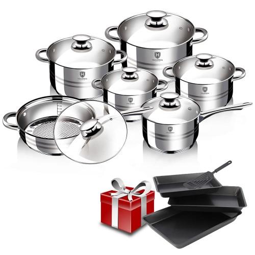 HomeVero Σετ Μαγειρικών Σκευών 12 τμχ από Ανοξείδωτο Ατσάλι HV-1012-1535 και Δωρο Σετ αντικολλητικά ταψιά 3 τμχ και 1 σπάτουλα