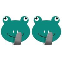 Tatkraft Σετ γαντζάκια πόρτας - κρεμάστρες με αυτοκόλλητο σε σχέδιο βατραχάκια 2 τμχ T20085