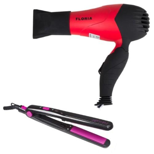 Σεσουάρ μαλλιών 1000W Κόκκινο Zilan ZLN8976-RED και Συσκευή ισιώματος μαλλιών, μωβ-μαύρη, Beper Lady B 40.957N