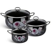 Edenberg Σετ αντικολλητικές κατσαρόλες με γυάλινα καπάκια 6 τμχ σε μαύρο χρώμα με σχέδιο τριαντάφυλλου EB-1854