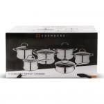 Edenberg Σετ μαγειρικά σκεύη σε ανθρακί χρώμα από ανοξείδωτο ατσάλι 12 τμχ EB-2402