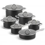 Edenberg Σετ μαγειρικά σκεύη από ανοξείδωτο ατσάλι σε μαύρο χρώμα 12 τμχ EB-4053