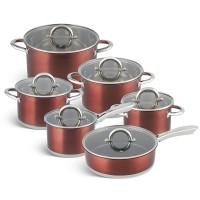 Edenberg Σετ αντικολλητικά μαγειρικά σκεύη από ανοξείδωτο ατσάλι12 τμχ EB-4054
