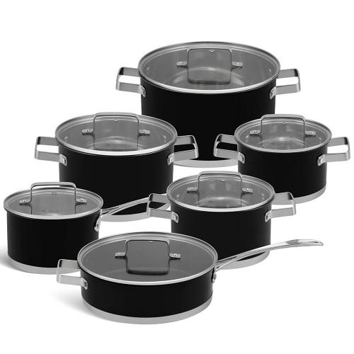 Edenberg Σετ μαγειρικά σκεύη από ανοξείδωτο ατσάλι σε μαύρο χρώμα 12 τμχ EB-4068