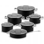 Edenberg Σετ μαγειρικά σκεύη από ανοξείδωτο ατσάλι σε μαύρο χρώμα 12 τμχ EB-4069