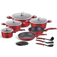 Edenberg Σετ αντικολλητικά μαγειρικά σκεύη με εργαλεία κουζίνας 15 τμχ σε κόκκινο χρώμα EB-5612