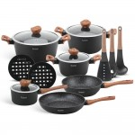 Edenberg Σετ αντικολλητικά μαγειρικά σκεύη με εργαλεία κουζίνας 15 τμχ σε μαύρο χρώμα EB-5616