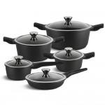 Edenberg Σετ αντικολλητικά μαγειρικά σκεύη 10 τμχ με αποσπώμενες λαβές σε μαύρο χρώμα EB-5632