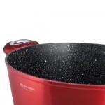 Edenberg Σετ αντικολλητικές κατσαρόλες με γυάλινα καπάκια 6 τμχ σε κόκκινο - μαύρο χρώμα EB-7425