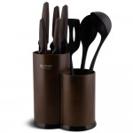 Edenberg Σετ μαχαίρια και εργαλεία κουζίνας με βάση αποθήκευσης 9 τμχ σε καφέ χρώμα EB-7810