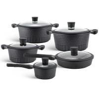 Edenberg Σετ αντικολλητικά μαγειρικά σκεύη με εργαλεία κουζίνας 10 τμχ σε μαύρο χρώμα με ανάγλυφο μοτίβο EB-9186