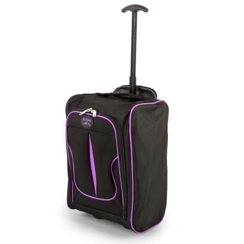 2149-17-BKPU Βαλίτσα Καμπίνας Τρόλεϊ Μαύρο-Μοβ Sunrise Bags