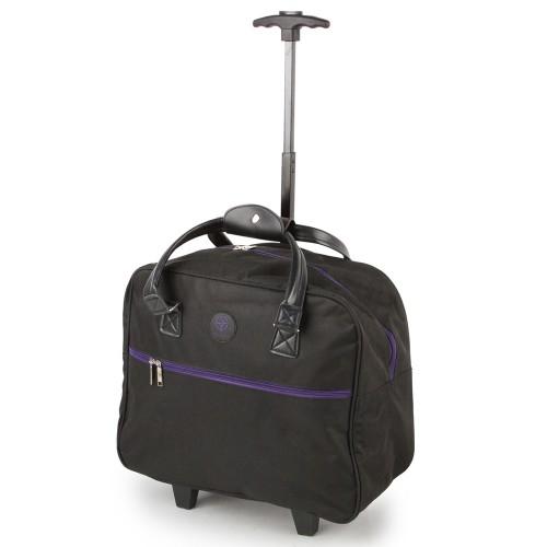 SUNRISE BAGS Τσάντα trolley μαύρη-μωβ 32Lt CB02.E-BKPU