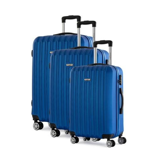 Manoukian Σετ Βαλίτσες-Χειραποσκευές 3τμχ Μπλε MAN-46-N