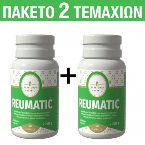 Pure Gold Organic Σετ 2 Συμπληρώματα διατροφής για την ενδυνάμωση των οστών και των αρθρώσεων 60 + 60 κάψουλες Reumatic