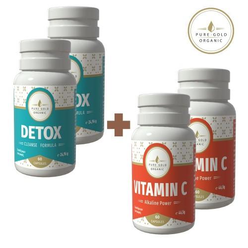 Σετ 4 συμπληρώματα διατροφής για αποτοξίνωση και τόνωση του οργανισμού: 2 x Detox Cleanse Formula 60 Κάψουλες και 2 x Vitamin C 60 Κάψουλες 850 mg