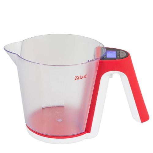 Zilan Ψηφιακή μεζούρα με ζυγαριά κόκκινη 1,2L ZLN7788-RED